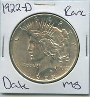 1922-D PEACE DOLLAR  DATE UNCIRCULATED US MINT COIN SILVER COIN UNC MS