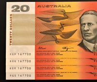 4 X MATCHING $20 NOTES    SAME SERIAL NUMBER    CONSECUTIVE