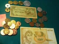 COINS 32 PIECE LOT 10 FOREIGN COINS 6 TOKENS TWO FOREIGN PAPER MONEY