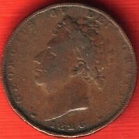 1826 GEORGE IV COPPER FARTHING DATE BELOW BUST  4225
