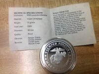 MARINE CORPS COMMEMORATIVE HISTORY MEDAL WITH COA SILVER PLATED