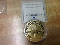 STATUE OF LIBERTY COMMEMORATIVE HISTORY MEDAL WITH COA GOLD PLATED