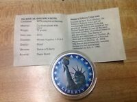 STATUE OF LIBERTY COMMEMORATIVE COLOR COIN  AMERICAN MINT  WITH COA
