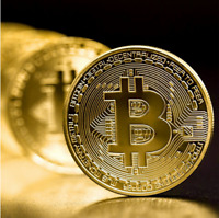 GOLD PLATED PHYSICAL BITCOIN BTC PHYSICAL COIN FOR COLLECTERS CRYPTOCURRENCY
