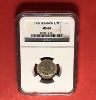 LEBANON UNC 1/2 PIASTRE 1936  GEADED BY NGC MS64  .. GRADE.
