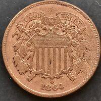 1864 TWO CENT PIECE HIGH GRADE EXTRA FINE  MANY CUDS 4861