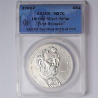 2009 P $1 LINCOLN COMMEMORATIVE SILVER DOLLAR ANACS MS70 FIRST RELEASE