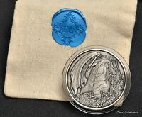 2018   FIRE DRAGON 1 OZ .999 SILVER ANTIQUE FINISHED ROUND WITH POUCH & COA