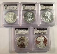 2011 AMERICAN SILVER EAGLE 25TH ANNIVERSARY 5PC SET PCGS MS/PR70 69 FIRST STRIKE