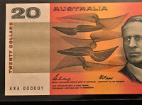 $20 NOTE    NUMBER ONE SERIAL    EXA 000001    1989 PHILLIPS