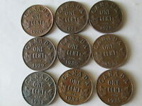 GEORGE V SMALL CENTS LOT OF 9:  1920 27 28 29 30 31 32 33 35  VF/XF