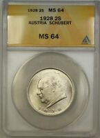 1928 AUSTRIA SCHUBERT 2S TWO SCHILLING SILVER COIN ANACS MINT STATE 64