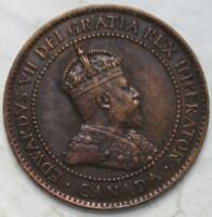 CANADA 1907H LARGE CENT NICE GRADE KEY DATE KING EDWARD VII