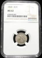 1868 THREE CENT NICKEL 3C KEY DATE HIGH GRADE MINT STATE 62 $ GRADED NGC  COIN
