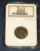 NGC 1851 HALF CENT MINT STATE 64 BRAIDED HAIR C 1 COPPER 1/2C