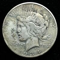 KEY DATE 1934-S VAM 1 FILED S   90 SILVER PEACE DOLLAR  COIN .