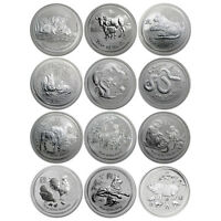 AUSTRALIA 2008 2019 PERTH MINT COMPLETE 12 COIN LUNAR II SERIES 1 OZ SILVER SET