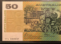 $50 NOTE    NUMBER ONE SERIAL    YYL 000001    1989 PHILLIPS