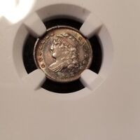 1832 CAPPED BUST HALF DIME H10C NGC AU 58 ABSOLUTELY BEAUTIFUL TONING