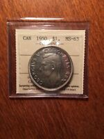 ICCS MS63 1950 SWL CANADA SILVER DOLLAR  BEAUTY RARER VARIET