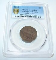 1864 SMALL MOTTO  CERTIFIED PCGS FINE TWO CENT COIN 2 CENT COIN
