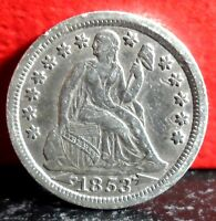 HIGHER GRADE FULL LIBERTY FIRST YEAR TYPE 1853 SILVER SEATED LIBERTY DIME
