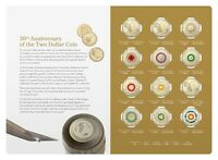 2018 $2 TWELVE 12 COIN COLOURED SET  30TH ANNIVERSARY OF THE $2 COIN
