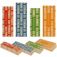 300 FLAT COIN ROLL WRAPPERS FOR U.S. COINS -125 EACH OF PENNY, NICKEL, DIME