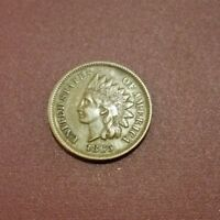 1865 FANCY 5 INDIAN CENT ORIGINAL COIN XF NICE