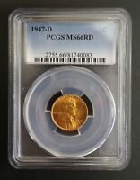 1947 D LINCOLN WHEAT CENT PCGS MINT STATE 66 RD 001