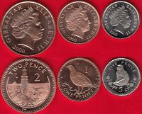 GIBRALTAR SET OF 3 COINS: 1   5 PENCE 2000 UNC