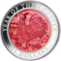 COOK ISLANDS 2017 25$ LUNAR YEAR OF THE ROOSTER 5OZ MOTHER P