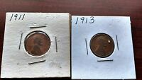 1911 AND 1913 PENNY US WHEAT