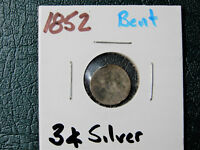 1852 3 CENT SILVER COIN  COIN IS BENT           PJ122