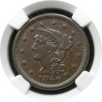 1846 BRAIDED HAIR LARGE CENT 1C N18 KEY DATE BETTER GRADE AU 55 BN $ NGC SM DATE
