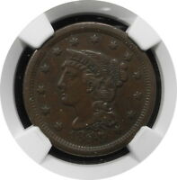 1849 BRAIDED HAIR LARGE CENT 1C N28 KEY DATE BETTER GRADE EXTRA FINE  45 BN $ NGC R3