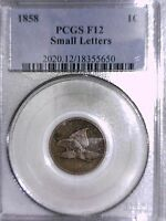 1858 FLYING EAGLE CENT PCGS F 12 SMALL LETTERS 18355650