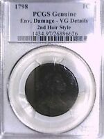 1798 LARGE CENT PCGS GENUINE ENV. DAMAGE - VG DETAILS  2ND HAIR STYLE 26896626