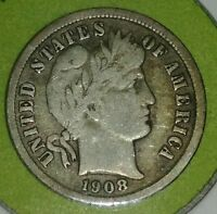 1908-DBARBER DIME_90-SILVER110YRS. REALLY  COIN