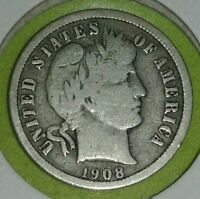1908-BARBER DIME_90-SILVER110YRS. REALLY  COIN