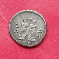 CHILE SILVER QUARTER 1/4 REAL 1817 SO   SANTIAGO   CHARLES IV  KM73
