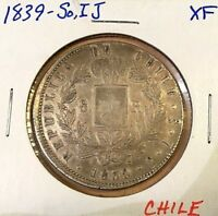 1839 SO IJ CHILE SILVER 8 REALES EF XF CONDOR BREAKING CHAIN COIN