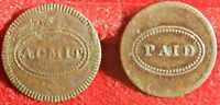 NEW YORK PARK THEATRE 1817 PAIR OF ADMIT AND PAID TOKENS    1393