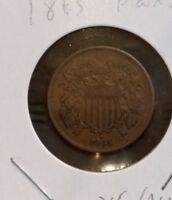 1865 PLAIN 5 TWO CENT PIECE XF  NICE HIGH GRADE  2