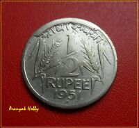 INDIA NEVER BEFORE  DIE CUD ON 67 YEARS OLD COIN  1/2 RUPEE COIN OF 1951