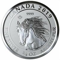 2019 CANADIAN ANIMAL PORTRAIT SERIES WILD HORSE  MUSTANG  3/4 OZ SILVER RP COIN