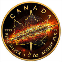 MAPLE LEAF APOCALYPSE II 1OZ BLACK RUTHENIUM BU SILVER COIN