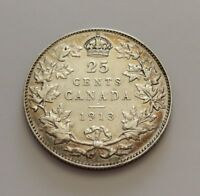 KING  GEORGES V     25 CENTS 1913    GOOD DATE