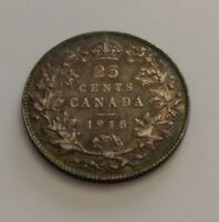 KING  GEORGES V     25 CENTS 1918    SUPER RAINBOW TONED