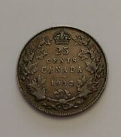 KING  GEORGES V     25 CENTS 1932    SEMI KEY DATE
